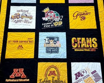 Custom t shirt quilts made from 9 to 49 tshirts. Memory T-shirt quilts. DEPOSIT ONLY!!!