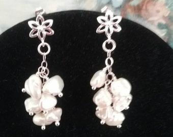Keshi pearl cluster drop earrings