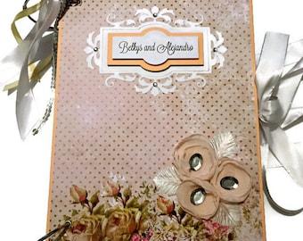Romantic Wedding Memory Book, Wedding Anniversary Gift, Wedding Scrapbook Album, Wedding Album, Wedding Keepsake, Elegant Wedding Scrapbook