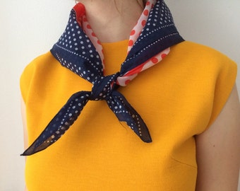 Red White Blue Polka Dot Hankerchief Scarf | Retro Square Scarf | Polkadot Bandana Scarf | Neckerchief | Vintgage Preppy USA Hankie 4th July