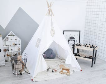 White Teepee Tent, Childrens Teepee, Canvas Teepee Tent, Play Teepee, Canvas Teepee, Play House, Teepee Set, Girl Teepee, Kids Wigwam, Tipi