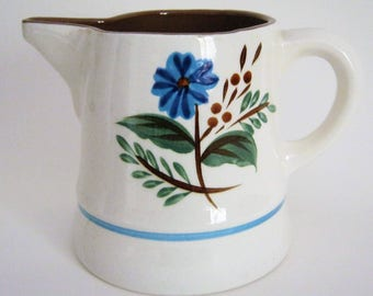 Stangl Bachelor Button Pitcher*1965-78*Floral Center*White Pitcher*Light Blue Ring*Pottery Pitcher*Hand Painted*Glossy Glaze*Signed Stangl 7