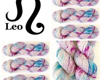 Leo. Hand Dyed Yarn.Super Soft 100%Merino wool/nylon 100g 400m (437yd). 4 ply. fingering weight. Super soft luxury sock yarn.