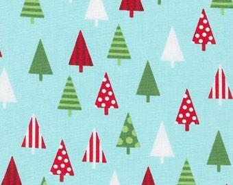 Christmas Fabric - Jingle 4 Trees Fabric - Aqua - By Robert Kaufman