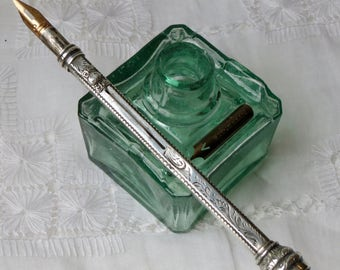 victorian ink bottle green with 4 pen nib rests square shaped FM&Co with dagger mark calligraphy dip pen ink.