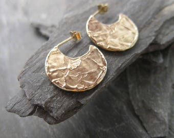 "Gold hoops earrings, gold plated bronze, ""Etania"" made in France, handcrafted."