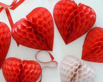 Heart shaped honeycomb decoration / hanging decoration / valentine / party decorations / wedding decorations