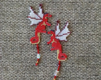 Beaded Dragon Earrings, Red and Gold Fairy Dragon Earrings with Crystal Treasure
