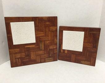 Wood tile cheese tray/platter vintage butcher block design