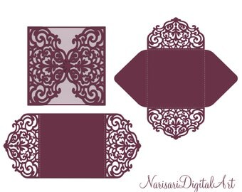 Four-fold envelope laser cut template SVG, DXF, CDR files, Quinceanera, Christening, Plotter file, Silhouette Cameo, Cricut, Scan n Cut