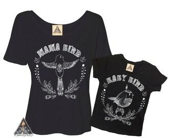 MAMA Bird and BABY Bird Boho Womens shirt and baby shirt/ Mama Bird Baby bird shirts / Mommy and Me bird shirts / boho mommy and me set