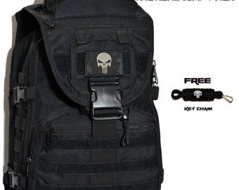 Custom PUNISHER Backpack Molle Pack Messenger Bag Laptop Pack + FREE + Punisher Nylon Key Chain - Daddy Diaper Bag Gym Bag and/or Day Pack