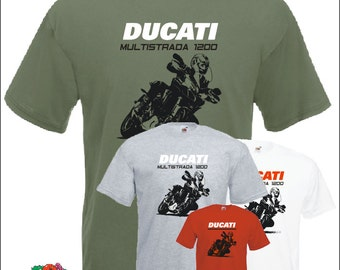 Multistrada 1200 T-SHIRT Motorcycle t shirt for Ducati fans - Fruit of the loom
