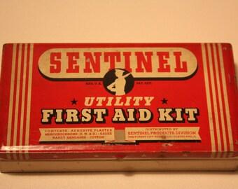 Vintage Sentinel First Aid Kit Tin