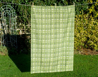Green Barkcloth Vintage Retro Pair of Curtains - Mid Century Modern Home