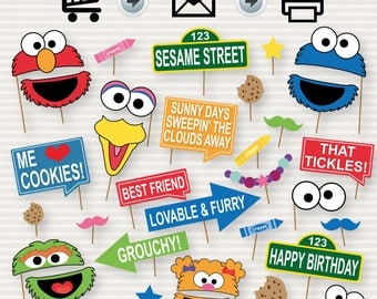 Sesame Street Photo Booth Printable Props - Sesame Street Decorations - Sesame St Party Signs - Sesame Street Party - Instant Download - DIY