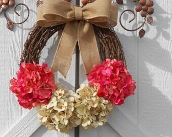 Valentine wreath, Valentine Gift, Hydrangea wreath, Grapevine wreath, Floral wreath, Spring wreath, Summer wreath, Everyday wreath