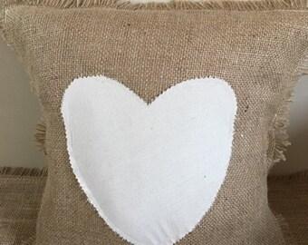 Valentines Hessian heart cushion