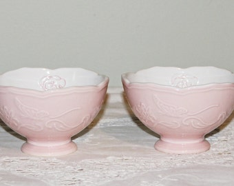 Pair of Pink & White Ceramic Cereal/Serving Bowls Raised Floral Design Borders Each Pretty Raised Rose Inside Bowl