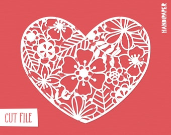 Floral heart digital cut file (svg, dxf, png) use with Silhouette, Cricut, in paper crafting, scrapbooking projects, card making, stencils.