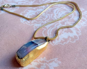 Handmade gold plated necklace with a multicolor non shaped brown-gray agate