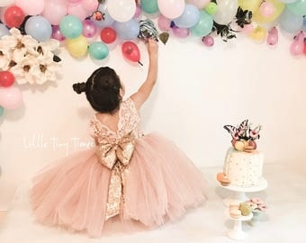 Lace dresses,V back dress,First birthday dresses,Pink flower girl dress,open back dress,Toddler pageant dress, Gold sequin bow dress,