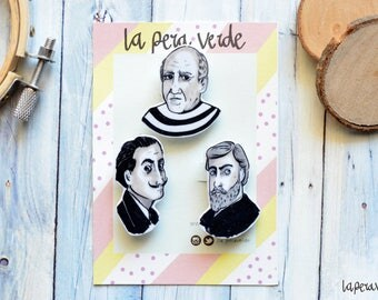 ARTIST BROOCH, Dalí brooch, Dalí pin, Picasso brooch, Picasso pin, Gaudí Brooch, Gaudí pin, set pin, painters pin, shrink plastic pin