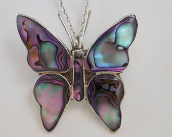 Mexican Abalone Butterfly Pendant Necklace Sterling Chain