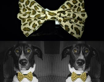 Leopard Dog Bow Tie - Brown