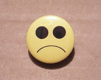 Sad face pin, Sad face badge, Sadness, Happy Face Button, Sad Face Button, UK badges, Funny Badges, Yellow badges, Gift Ideas, Novelty Badge