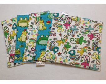 Organic cloth wipes, baby washcloths, organic bamboo, frog and toad washcloth, flannel baby wipe, organic baby wipe, chameleon baby