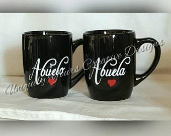 Abuela and Abuelo Mugs, Oma and Opa Mug Set, Nana and Papa Mug Set, New Grandparents Gift, Pregnancy Reveal, Pregnancy Announcement, Gift