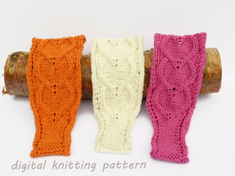 Knitting Yrn P2tog : Knitting pattern pdf cabled hearts hand knit headband