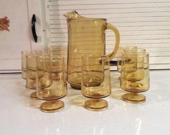 Amber Ice Tea Pitcher & Glasses (set of 8)