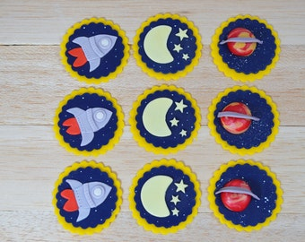 Outer Space Fondant Toppers, Space cupcake toppers, Planet cupcakes