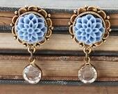 Flower Gold Studs - Bridesmaids Flower Earrings - Something Blue  Earrings - Gift for Her Under 25 - Dangle Earrings for Mom - Blue Studs