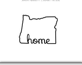 Oregon State Outline Home Graphic - Cut Files Included - Oregon DXF - Oregon SVG - Digital Download | 7 Formats Ready to Use!