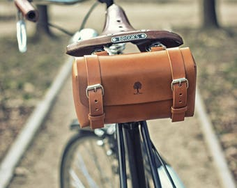 Small leather bicycle tool bag
