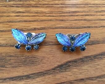 Vintage Iridescent Blue Molded Rhinestone Earrings 0965