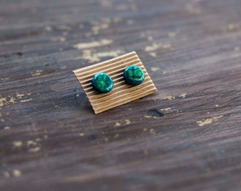 hand painted round colored polymer clay earrings