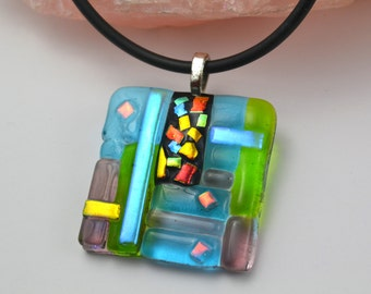 Dichroic Glass Necklace, Colorful Jewelry, Art Glass Pendant, One Of A Kind, Confetti Chic, Unique Glass, One of a Kind, Statement Jewelry