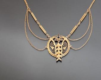 Jugendstil FRIEDRICH SPEIDEL Festoon Golt Necklace. Antique Art Nouveau Floral Paste Jewelry