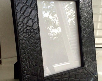 Leather photo frame,  picture and photo frames, faux crocodile leather, home accessories