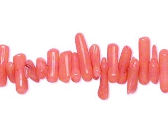 "Cupolini Beads, Salmon Bamboo Coral, Coral Chips, 8x1mm to 14x4mm, 15"" String, D949"