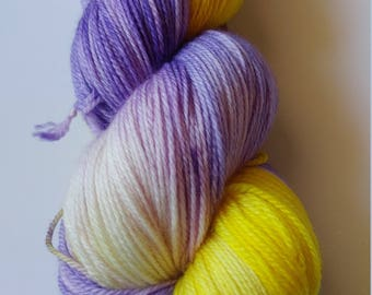Hand dyed yarn, 100 g fingeing weight, superwash merino/nylon blend, ready to ship, Purple Pansy