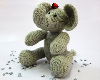 handknitted elephant, handmade toy, small elephant, small hand knitted animal toy, childrens handmade toy, soft toy, acrylic handmade toy,