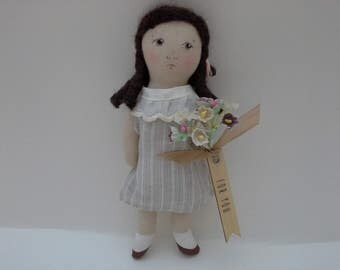 Doll Gift, Small Handmade Doll, Little OOAK Doll, Thank You Gift, Happy Birthday Doll, Gift Tag Doll, Congratulations Doll, Love You Doll