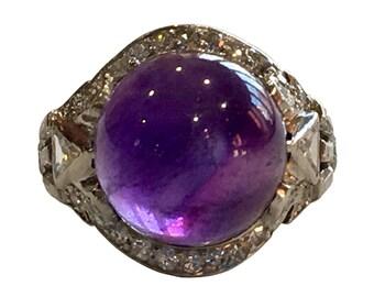 Art Deco Platinum Diamond Cabochon Amethyst Ring