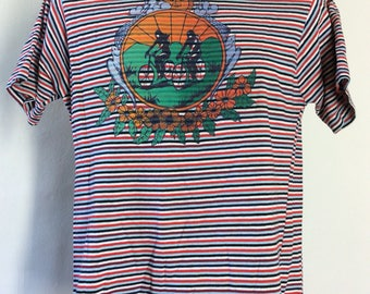 Vtg 70s Rite Smart Striped Bicycle T-Shirt M/L Bike Print 50/50