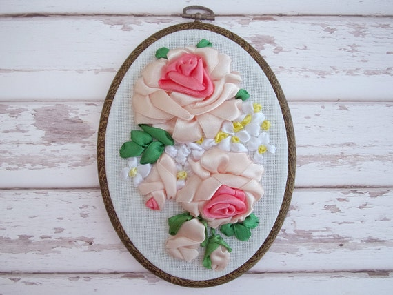 Ribbon embroidery wall hanging by mylittlebigboutique
